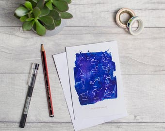 Constellation birthday card, space inspired, astrology design, horoscope, star sign, A6