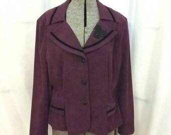 Vintage burgundy jacket burgundy velvet trim jacket size 14