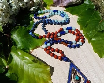 Through Fire and Ice - From Blues we Rise Collection - OOAK hand knotted 108 mala