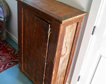 Primitive Jelly Cupboard 1800s Rustic Farmhouse Wood Cabinet