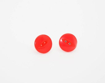 Vintage Button Earring - Earrings Handmade - Button Earrings - Button Jewellery - Red Earrings - Button Stud Earrings- Earrings for Women