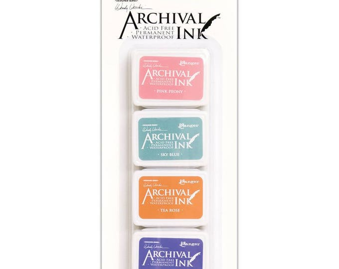 New! Wendy Vecchi Archival Mini Ink Pad Kit - Set # 3 (Pink Peony, Tea Rose, Sky Blue, and Violet)