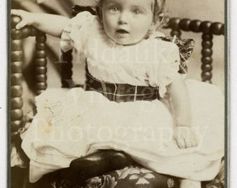 CDV Photo Victorian Cute Baby Girl, Pretty Dress Portrait by Wills of Cardiff Wales - Carte de Visite Antique Photograph