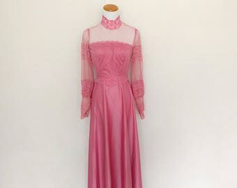 Vintage 70s lace dress Victorian high collar Steampunk dark pink mauve long sleeves