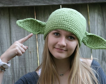 FREE SHIP Star Wars Inspired Yoda Hat with Poseable Ears - All Sizes