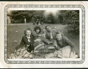 Vintage Photo of Friends Lifting Their Glasses on a Picnic, 1940's Original Found Photo, Vernacular Photogrpahy