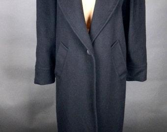 Vintage MAXI Black WOOL COAT The Limited Kimono Goth Dynasty Padded Shoulders Sz 10
