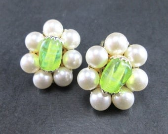 Vintage 60s Faux Pearl & Green Bead Cluster Earrings Clip On Made in Japan