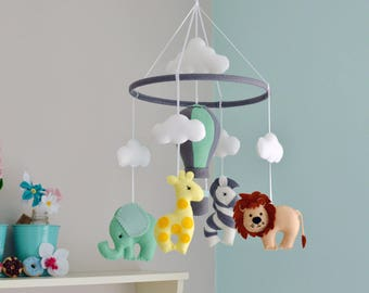 Safari Baby Mobile - Animal Mobile - Nursery Felt Mobile - Hot Air Balloon - MADE TO ORDER