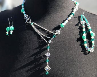 Teal, White & Silver Rose 3 Piece Jewelry Set