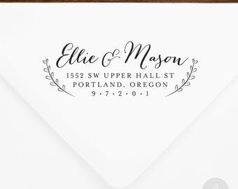Return Address Stamp #40 - Wooden or Self-Inking - Personalized - Gifts, Weddings, Newlyweds, Housewarming - INCLUDES HANDLE