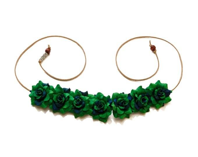 Dark Green Rose Flower Crown