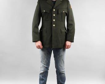80's Plus size Real Vintage Dutch Army Blazer 1989 Holland Green Large Men's Jacket Military Style Genuine Army Khaki Blazer 1989 Size L