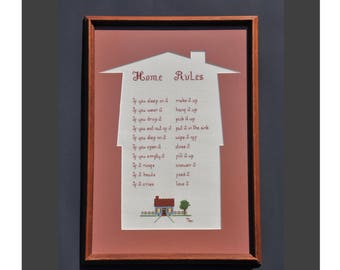 Vintage Cross Stitch Framed 18 x 13 Completed Home Rules Needlepoint, Signed 1984, Country Home Décor, House Warming Gift, Homestead Designs