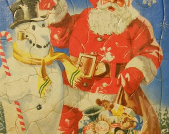 Santa Claus & Frosty Vintage Whitman Inlaid Puzzle