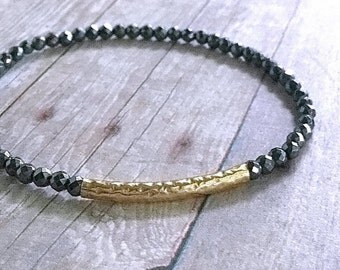Gold Bead Bracelet Set / Stretchy Gemstone Bracelet / Faceted Hematite Jewelry / Gray Black Stone Bracelet