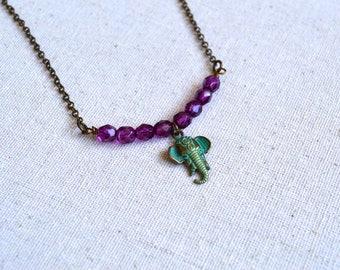 Minimalist Necklace, Handmade Necklace, Gift Under 20 Dollar, Boho Necklace, Vintage Necklace, Elephant Charm, Jewelry, Necklaces, Choker