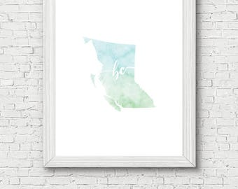 British Columbia Province Printable - digital download, dorm decor, clean and simple, watercolor, minimalist art, canada province outline