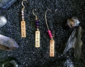 Earring single ~ choose your word + bead color ~ stamped raw brass