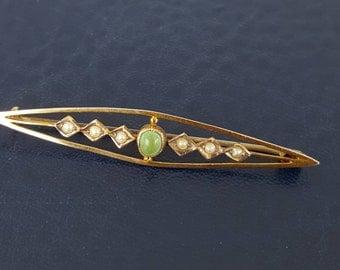 Antique Gold Split Pearl Brooch c1900 Silk Brooch