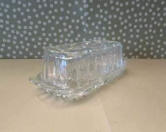 Vintage Anchor Hocking Prescut Glass Butter Dish with Lid Star of David