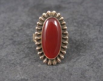 1970s Southwestern Carnelian Ring 12K Gold Filled Size 7
