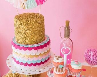 Pink Mint Gold Tassel Cake Topper, Bohemian Birthday, Wedding Cake, Boho Bridal Shower, Dessert Table, Cake Smash, First Birthday, Sweet 16