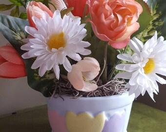 Tulip Floral Arrangement, Daisies, Ranunculus, Tulips, Silk Flower Arrangement, Faux Flowers, Home Decor, Spring Flowers, Spring Arrangement