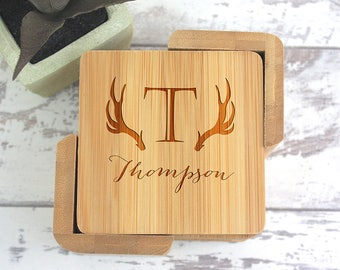 Wood Coasters, Wedding Gift, Coasters, Antlers, Personalized Gift, Coasters,Parents Gift, Anniversary Gift, Wood Anniversary, Gifts