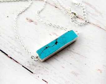 Turquoise Jewelry Silver-Turquoise Bar Necklace Silver-Turquoise Jewelry-Turquoise Jewelry Necklace-Bar Necklace-Turquoise Silver Necklace