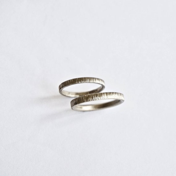 White Gold Wedding Ring Set - Two Tree Bark Bands  - 18 Carat Gold - Men's Women's - Couples - Unisex - His Hers Unique