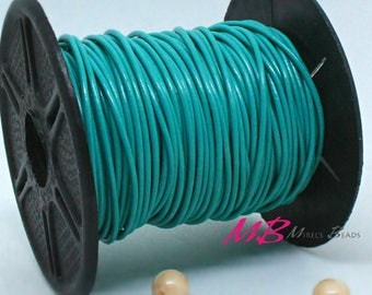 2mm Spool of Turquoise Indian Leather, 5 Yard Spool of Genuine Leather, 15 Ft Round Leather for Jewelry Making