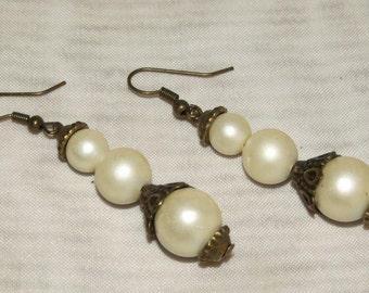 Steampunk EARRINGS PEARLS and FILIGREE Victorian Earrings Vintage Ivory Pearls & Filigree Steampunk Earrings by SweetDarknessDesigns