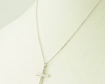 """Sterling Silver Textured Cross Pendant Necklace 18"""""""
