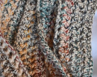 Tweed Crochet Infinity Scarf -- Cozy, Soft Oversized Scarf in Tan, Blue, Green, Cream, & Red