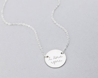 Custom Handwriting Disk Necklace, Actual Handwriting Necklace, Memorial Jewelry, Signature Necklace, Personalized Children Names