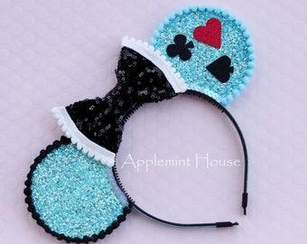 Alice in Wonderland Mouse Ears, Wonderland Ears, Alice Ears,Alice Mouse Ears , Alice Minnie Mouse Ears, Alice Mickey Mouse Ears