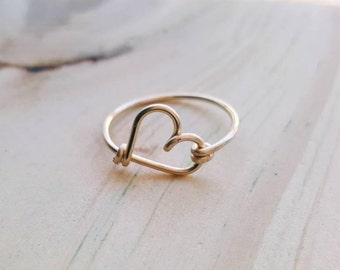 Heart ring - 14k gold ring - custom ring - gold ring -  Gold stacked ring -  Bridesmaid Gift