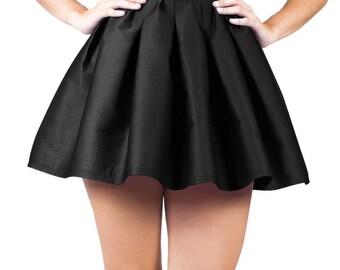 Black Mini Skater Skirt, Black Pleated Skirt, Circle Skater Skirt, A Line Black Skirt, Gothic Skater Skirt, Summer Skirt, Pin Up Clothing