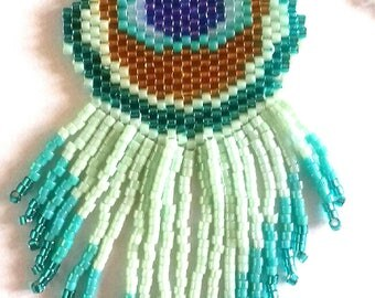 Set Peacock necklace and earrings beads miyuki