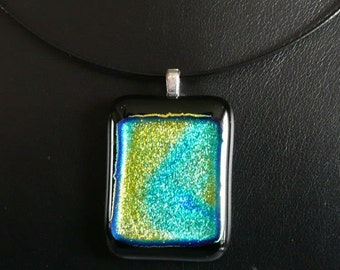 Handmade Fused Dichroic Glass Pendant  -  Shimmering Swirls - Perfect Gift under 20 Dollars