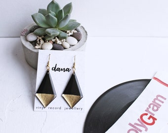 geometric earrings black and gold dangle earrings statement earrings upcycled earrings minimalist earrings sustainable fashion edgy jewelry