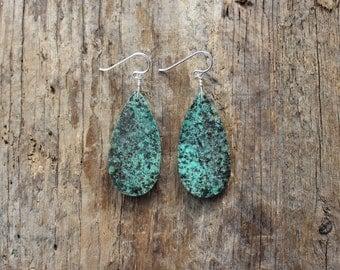 African Turquoise Stone Teardrop Earrings- Silver
