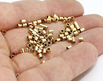 50 Pcs 2,5mm 24k Shiny Gold Tube Crimps , Crimp Beads , Tubes, Crimps , BRT207