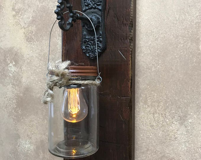 Wall SCONCE Edison Battery Operated LED Light Bulb in Rustic Mason Canning JAR & Key Hook -Reclaimed Distressed Decor Antique White Red Blue