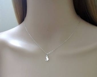 Tiny sterling silver cat necklace; silver cat necklace; cat charm necklace; simple sterling silver necklace