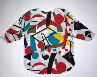super fun 1980s shirt/tunic with graphic print