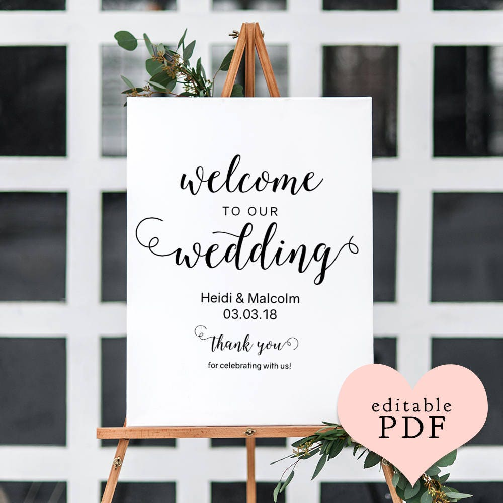 Welcome Wedding Sign Templates 5 Sizes 8x10 18x24 24x36 A1 And A2 PDF Easily Edit In Acrobat Reader