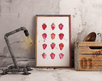 Strawberries - A4/A5 PRINT of watercolour illustration