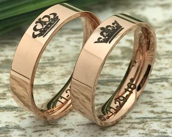 5mm Rose Gold Stainless Steel Rings, King and Queen Rings, Engraved Date Rings, His And Her Ring Set, Couples Names Rings, Her King Ring